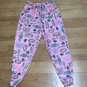 Friends Pink Joggers Leggings Lounge Pants M